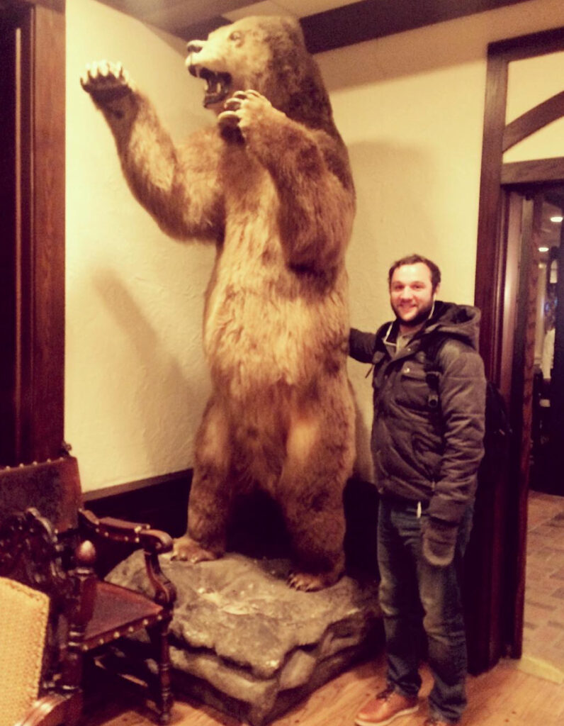 Matt Prekop and a bear. At the Big Sky Film Festival for OPER ATION ALLIE.