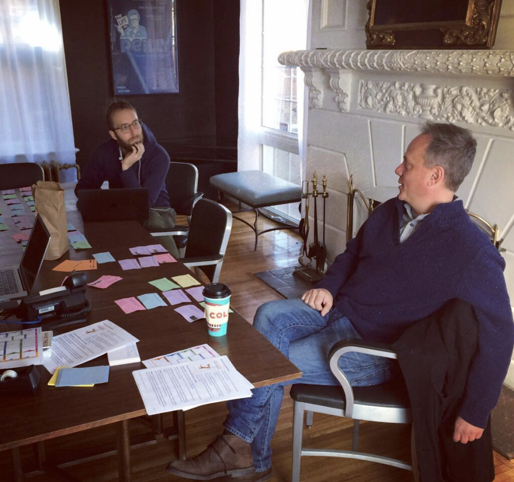 Erik and Barry in the Mansion working on BLOOD.